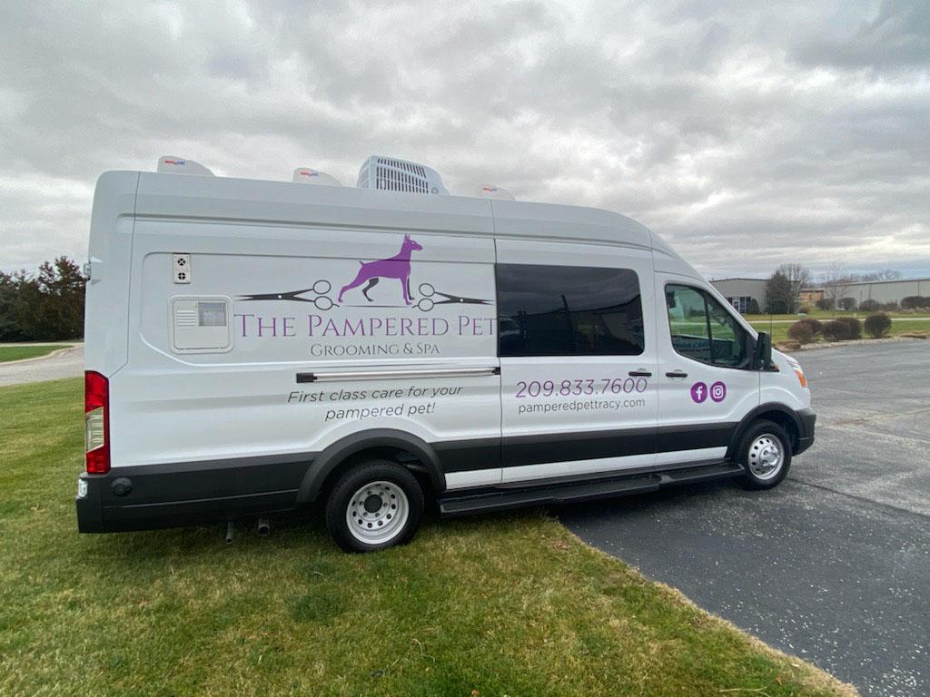 Pampered Pet mobile grooming van in Tracy